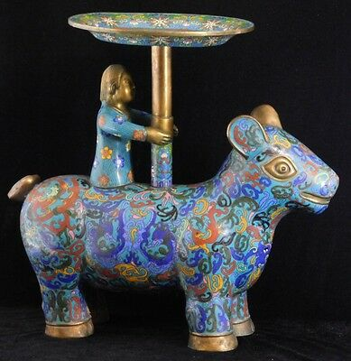Atq Qing Chinese TEN BULLS BOY RIDING OX Cloisonne Plate Bowl Censer Stand Table