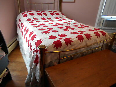 """Vintage Antique Red Bear Paw Quilt Top Hand Stitched Cotton 82""""X82"""" 1900s 1910s"""
