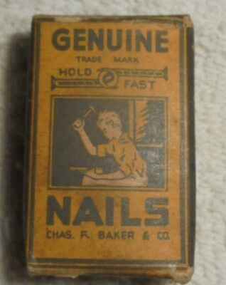 Vintage Genuine Hold Fast Nails full box Chas R Baker & Co
