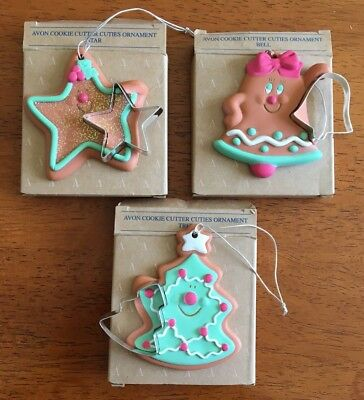 Avon Cookie Cutter Cuties Ornaments Star Bell Tree Christmas Baking Sparkle LOT