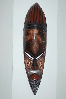 """Hand Crafted in Ghana - Wall Hanging Mask - Wood with Metal Accents - 18 1/2"""""""