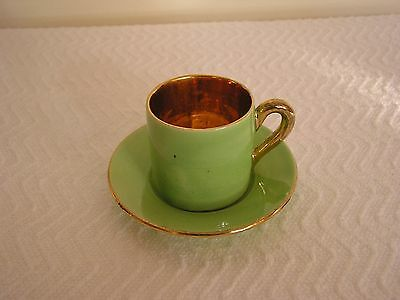Demitasse Tea Cup Green with Gold Made in France