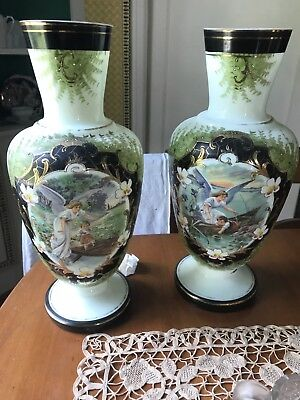 Bristol glass gardian angel vases
