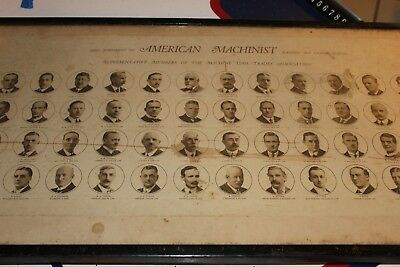 "Antique 38"" x 16"" framed American Machinists portrait"