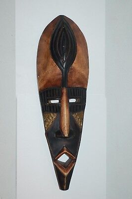 """Hand Crafted in Ghana - Wall Hanging Mask - Wood with Metal Accents - 17"""""""