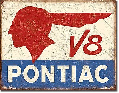 Pontiac V8 Car Dealer Service Parts Garage Retro Vintage Style Metal Tin Sign