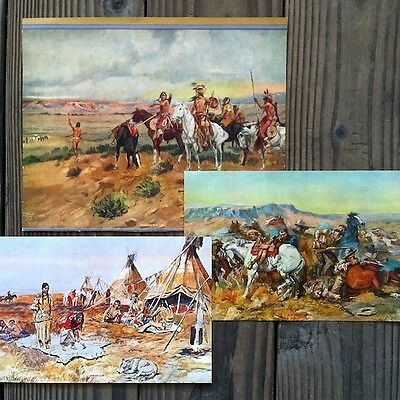 11 different Original CHARLES RUSSELL Indian WESTERN ART Prints 1930s NOS