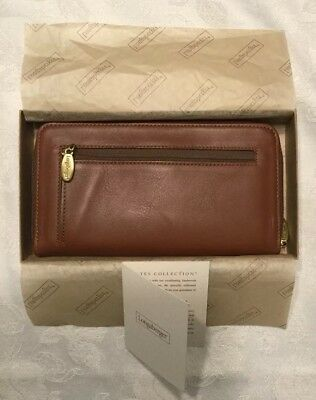 Longaberger Country Estates Leather Zip Wallet New In Box With Tag - a RARE find