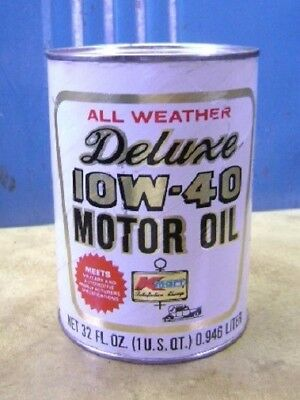 Vintage Unopened 1 Quart Deluxe Motor Oil Cardboard Can Retro Gas Station
