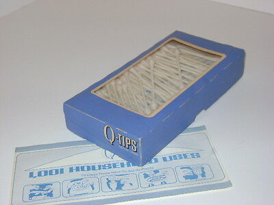 Classic Vintage 1970's 1980's Q Tips Cotton Swabs Single Pack in Open Q Tip Box