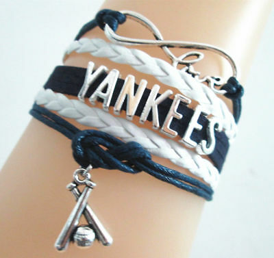 New York Yankees Infinity Love Charm Bracelet Free Shipping New Wristband