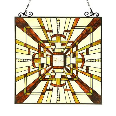 """Tiffany Style Stained Glass Window Panel Mission Arts & Crafts 24.5"""" x 26"""""""