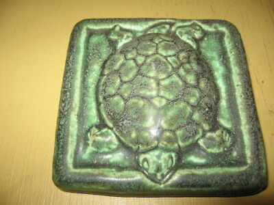 "Vintage 4"" X 4"" Green Turtle Reptile Arts And Craft Mission Architectural Tile"