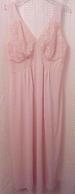 Kayser Luxite Nylon Size 44 Nightgown Pink Floor Length Lace Bodice