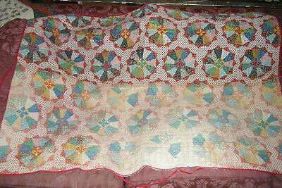 VINTAGE Hand stitched QUILT Throw  Cutter Handmade Sewn Pinwheel Type Pattern