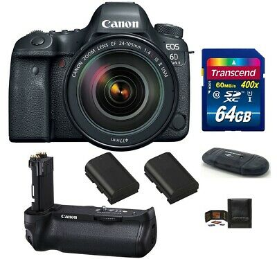Canon EOS 6D Mark II DSLR Camera with 24-105mm f/4L IS II USM Lens Grip Bundle!