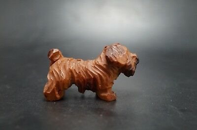 VTG ANRI Wood Carved SEALYHAM TERRIER Dog Miniature