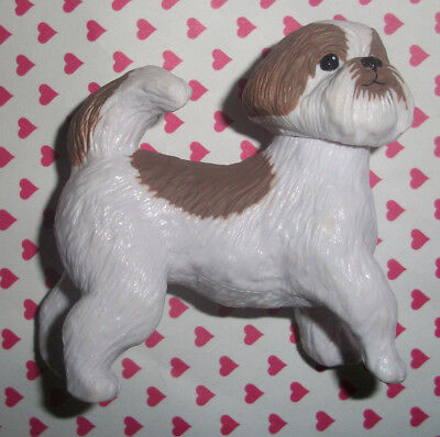 "Shih Tzu 2.5-3"" Figurine Toy Figure Hard Plastic Dog Unbranded Brown White"