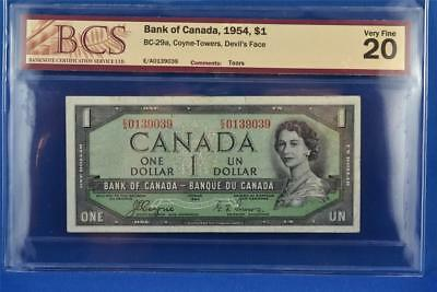 1954 CANADIAN BANK OF CANADA $1 DEVIL'S FACE BILL. BC-29a E/A 0139039. VF 20