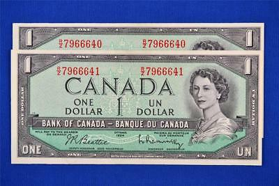 Lot Of 2 Sequenced 1954 Bank Of Canada $1 Bills. R/z 7966640 - 41. Ungraded