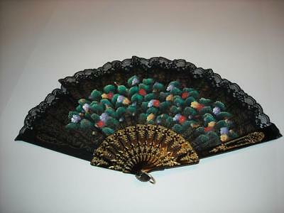 Vintage Hand Painted Fan Black Lace Fabric Floral