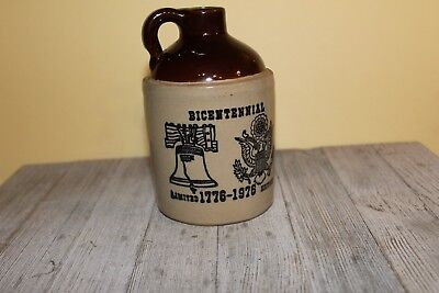 """small ceramic stoneware crock Whiskey Jug 6"""" tall two tone color marked USA"""
