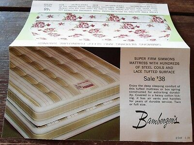Vintage Bamberger's Bedding and Mattress Brochure - New Jersey