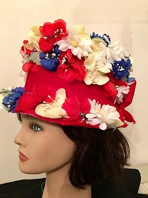 Vintage Red, White, Blue, Yellow Floral Top Hat with Red Velvet Bow