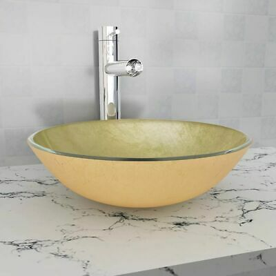 vidaXL Basin Tempered Glass 42 cm Gold Cloakroom Bathroom Above Counter Sink