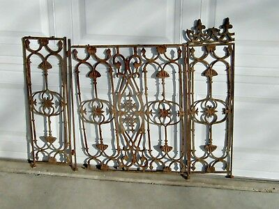 ARCHITECTURAL SALVAGE 3pc CAST IRON SCREEN w/DAMAGE-  REPURPOSE