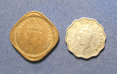 India 2 Annas 1945, 1 Anna 1939. George VI.