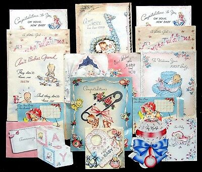 Lot of 16 Vintage 1944 Baby Congratulations Greeting Cards