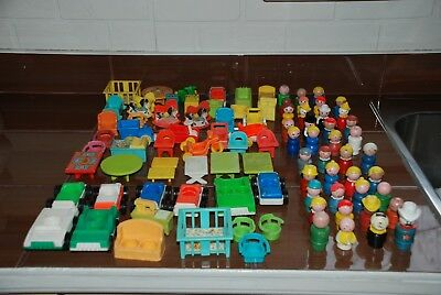 Vintage Toys Fisher Price Little People Huge  Lot Accessories 100 Parts