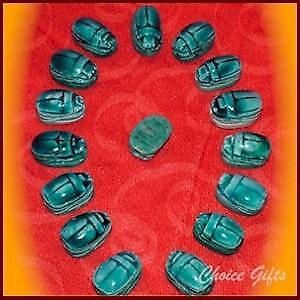 22mm Vintage Egyptian Carved Stone Blue Scarab Beetle Bead ~ Lucky Charm Amulet