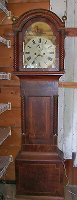 Working Antique English 8 Day Tall Case Clock with Banded Mahogany Case