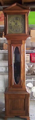 Working Antique New Haven 8 Day Tall Case Clock with Brass Dial in Mahogany