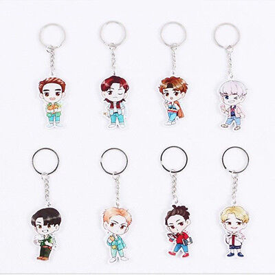 Koean Fashion Music Stars EXO KPOP Keychains Acrylic Cartoon Popular Keyrings