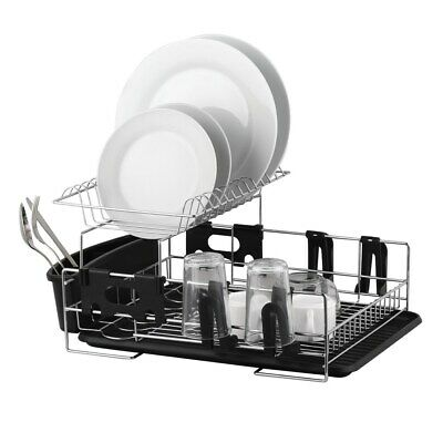 New D.Line Stainless Steel 2 Tier Dish Rack With Draining Board