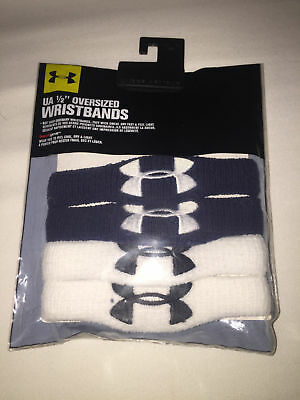 "NWT UA Under Armour 1/2"" OVERSIZED Wristbands 4 PC/ 2 PAIR WHITE / 2 PAIR BLACK"