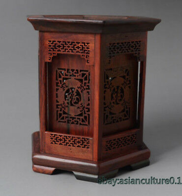 Rare Chinese Hexagon Shape Rosewood Hollow Out Carved Character Brush
