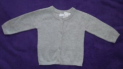 Baby boys size 00 knitted cotton Tin grey cardigan Brand New