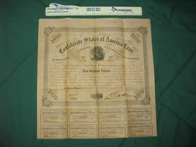 2/20/1863 CSA $500 Bond w/8 attached Coupons...99 cents...NR!