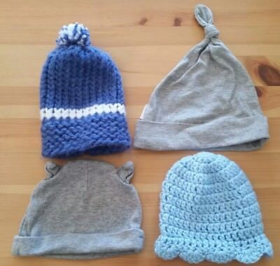 LOT of 4 Newborn to 9 Months infant knit caps grey and blue boys hand knit