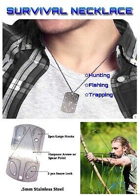 X EDC Survival Fishing Hunting Dog Tag Necklace Wilderness Survival Tool