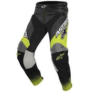 2017 Alpinestar Racer Supermatic Pants Anthracite Yellow Fluro / Grey adults