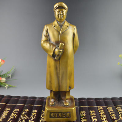 Antique china brass hand made giant hat MaoZeDong MaoZhuXi old man statue