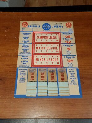 1940's BASEBALL BOX SCORE JACKPOT PUNCH BOARD GAMBLE PULL TAB 25 CENTS OLD STOCK