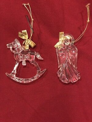 Avon Gift Collection Crystal-like Ornament Set Of 2 Rocking Horse And Angel