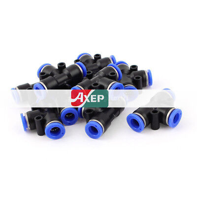 "10 Pcs 3 Way Tee Push In Pneumatic Quick Release 5/16"" Tube Fittings Connectors"
