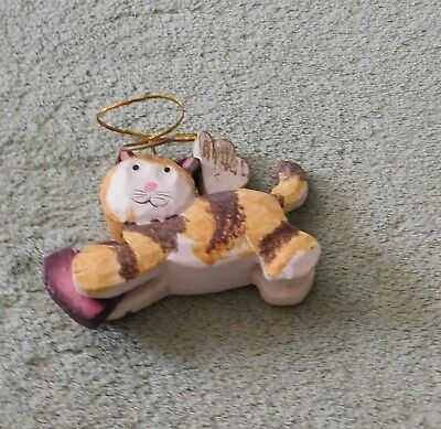 Calico Angel Cat / Kitten Wooden Ornament w/ Heart
